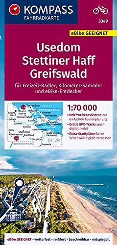 KV FK 3349 Usedom, Stettiner Haff, Greifswald: reiß- und wetterfest mit Extra Stadtplänen (KOMPASS-Fahrradkarten Deutschland, Band 3349)