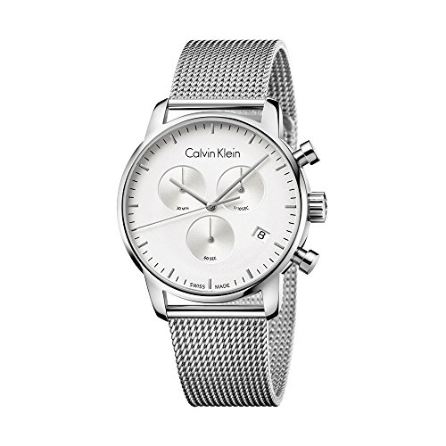 New para Hombre Calvin Klein Ciudad Plata Dial Cronógrafo 43mm Swiss ETA Cuarzo Reloj k2g27126