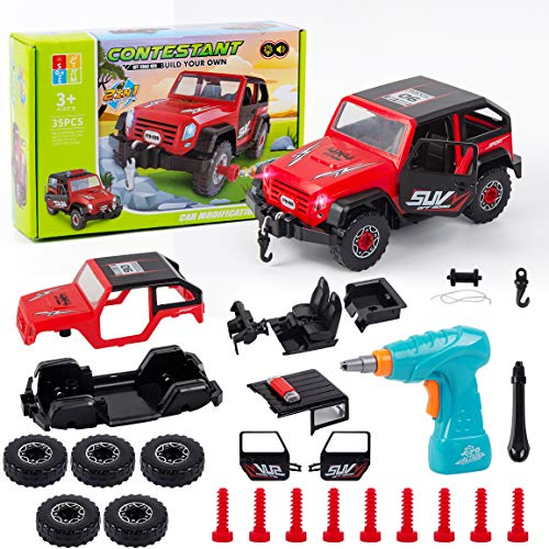 Highttoy Car Building Kit for Kids,Take Apart Toy Car with Toy Drill DIY Assembly Car Toys for 3-8 Year Old Boys Girls Gifts 35 Pcs Build Your Car Kit with Lights & Sound STEM Building Toys for Kids