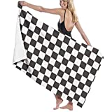 Affany Black and White Stripes Men & Women Microfiber Beach Towel,Super Absorbent Quick Dry Oversized Bath Towel for Pool Bathroom Travel Sports Hotel(52' X 32')