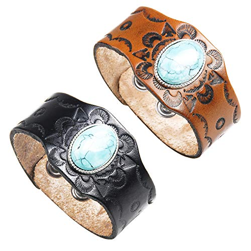 crintiff - Leather Cuff Wristband Bracelet for Men and Women with Rounded Turquoise - Black and Brown