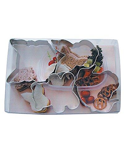 R&M International 5201 nożyce do kanapek, kształty zwierząt, niedźwiedź, królik, kot i pies zestaw do wycinania kanapek, wielokolorowe
