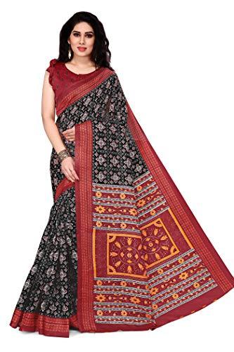 Sourbh Damen Fancy Khadi Silk Printed Sari mit Bluse Stück - Schwarz -...