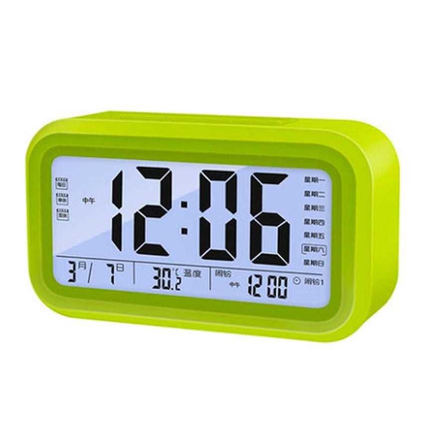 パッケージ座標デンプシーデジタルLED目覚まし時計、ベッドサイドベッドルーム電子時計アラーム設定温度調整、白