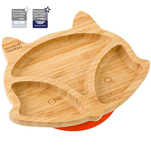 Plato de succión para bebés y niños con forma de zorro, plato de bambú natural naranja naranja