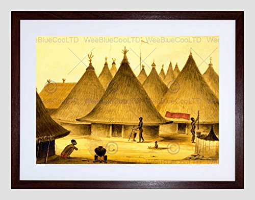 PAINTING AFRICAN NATIVE VILLAGE HUT POT FIRE SPEAR FRAMED ART PRINT B12X7402