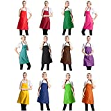 TSD STORY Total 12 PCS Plain Color Bib Aprons Bulk with 2 Front Pockets-Painting Baking Aprons for Women Men (12 Mixed Colours)
