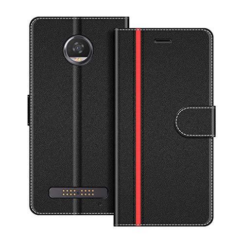 COODIO Handyhülle für Motorola Moto Z2 Play Handy Hülle, Motorola Moto Z2 Play Hülle Leder Handytasche für Motorola Moto Z2 Play Klapphülle Tasche, Schwarz/Rot
