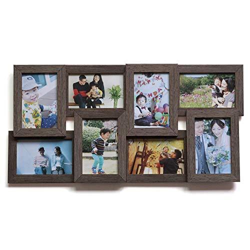ポストカード 8枚 ブラウン はがきサイズ 写真立て 写真フレーム 壁掛け フォトフレーム 木製 額縁 写真入れ 多面