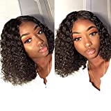 Fine Plus Human Short Curly Wigs for Black Women Glueless Short Human Hair Wigs with Middle Part Short Bob Wigs Shoulder Length Deep Curly Virgin Hair (14 inches with150% density)