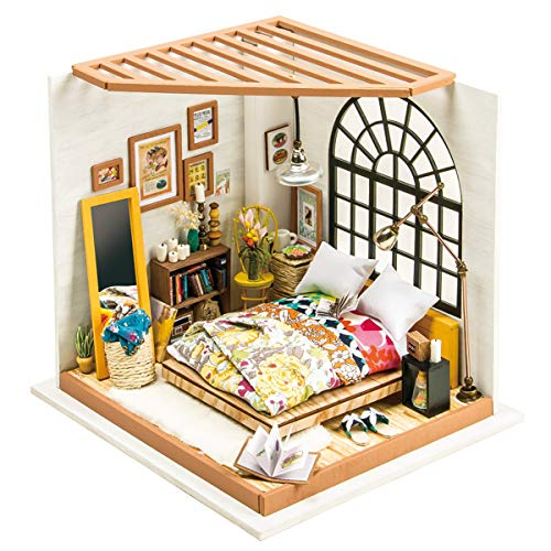Rolife DIY Miniature Dollhouse Kits with Accessories and Furniture-Creative Toys-Model Building Playset-Home Decor-Wooden Mini House-Best Birthday for Boys and Girls (07 Bedroom)