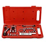 Flexzion Flaring Swaging Tool Kit - 45 Degree Brake Line Tubing Copper Brass Aluminum Mild Steel Extrusion 1/8 to 3/4 inch for HVAC Water Gas Pipe Automotive Plumbing W/Tube Cutter & Portable Case