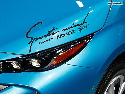 myrockshirt Renault Clio Megane Scenic Laguna Master Sport Sports Mind Powered by für Lack,Scheibe, etc Aufkleber 30cm breite,Schwe
