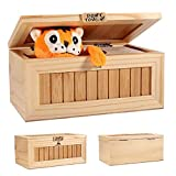 Loprt Wooden Useless Box Leave Me Alone Box Most Useless Machine Don't Touch Tiger Toy Gift with Sound (Yellow)