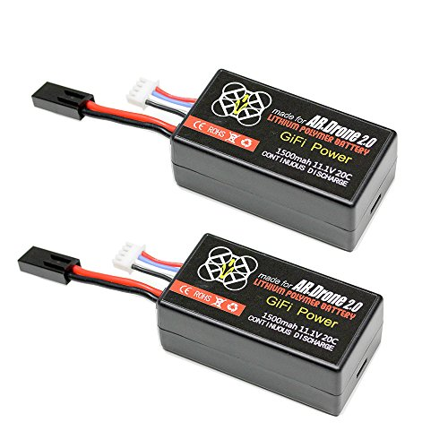 Gifi Power LiPo Battery For PARROT AR.DRONE 2.0 & 1.0 Quadricopter Lithium-Polymer 1500mAh 11.1V 20C (2 Batteries)