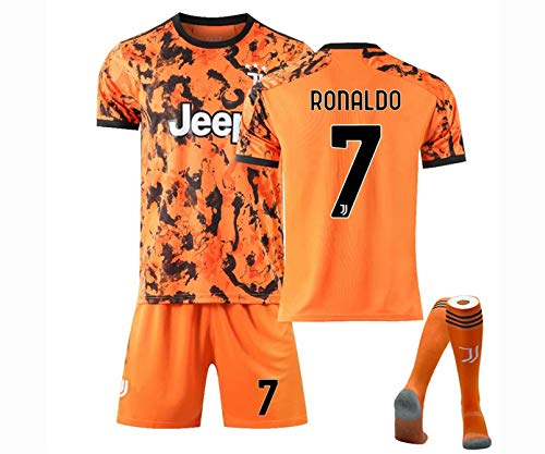 Kids Size Ronaldo #7 Jersey, Home and Away T-Shirt Set Skin-Friendly and Soft #10 Dybala Sportwear Set for Kids Gift,Away no.7,22