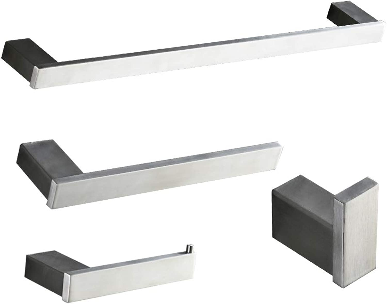 BESy 4 Pieces Bathroom Hardware Accessories Set Stainless Steel with 24 Inch Towel Bar, 10 Inch Towel Bar, Toilet Paper Holder, Towel Hook,Wall Mounted Hotel Style Bath Fixtures Set, Brushed Nickel