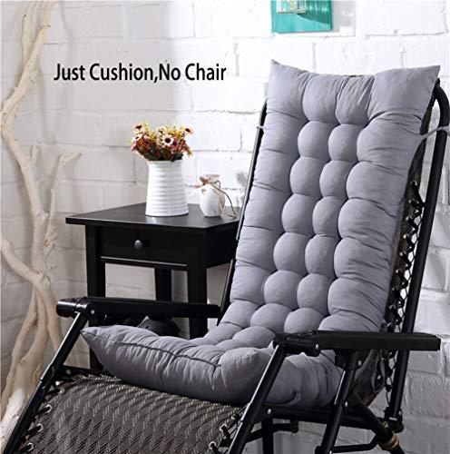 KongEU Coussin de chaise à dossier haut inclinable pour chaise de jardin, coussin de chaise pliable, lavable (hors chaises), gris, 110 x 40 x 8 cm