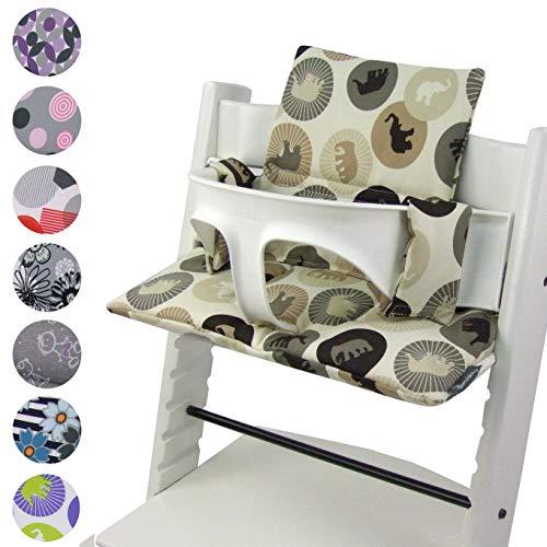 BambiniWelt zitkussenset voor stokken Tripp Trap hoge stoel *20 KLEUREN* vervangkussens kussens 2-delig beige olifanten