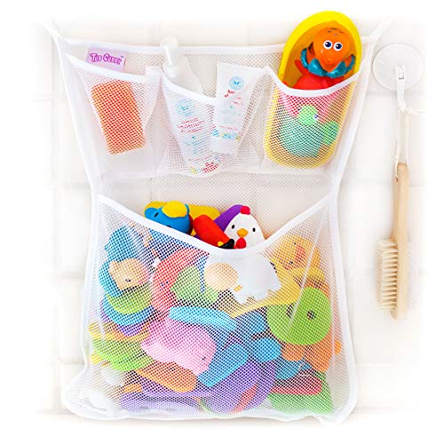 Tub Cubby Bath Toy Organizer + Ducky - Mesh Net Bin - Baby Bathtub Game Holder with Suction & Sticker Hooks Toddler Play Bathroom Storage Tray Bag Shower Caddy - Kids CPSIA Safety Award