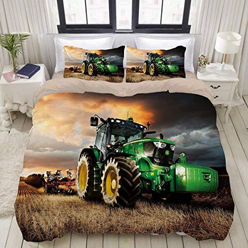 QWAS John .Deere Traktor - Juego de funda nórdica (100% microfibra, impresión 3D, muy suave y cómoda, adecuada para cama individual o doble (1,135 x 200 cm + 80 x 80 cm x 2)