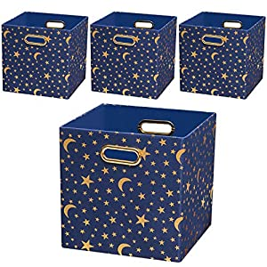crib bedding and baby bedding posprica storage cubes,11×11 storage bins boxes basket containers drawers for nurseries,kid's toys (set of 4, stars)