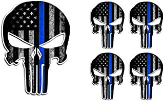 5 Pack Thin Blue LINE Punisher Skull American Flag Police Officer Blue Lives Matter Sniper Vinyl Decal Stickers Car Truck Sniper Marines Army Navy Military Jeep Graphic