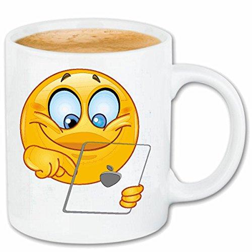 Reifen-Markt Koffie Mok Thee Beker SMILEY OP TABLET SMILEYS SMILIES ANDROID IPHONE EMOTICONS IOS sa glimlach EMOTICON APP Keramische 330 ml in wit