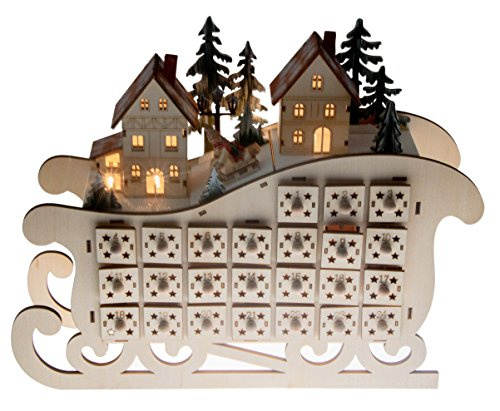 Clever Creations Wooden Village Sleigh Advent Calendar 24 Day Countdown to Christmas Advent Calendar | Premium Christmas Decor | Light Up Houses Wood Construction | 11.25? Tall