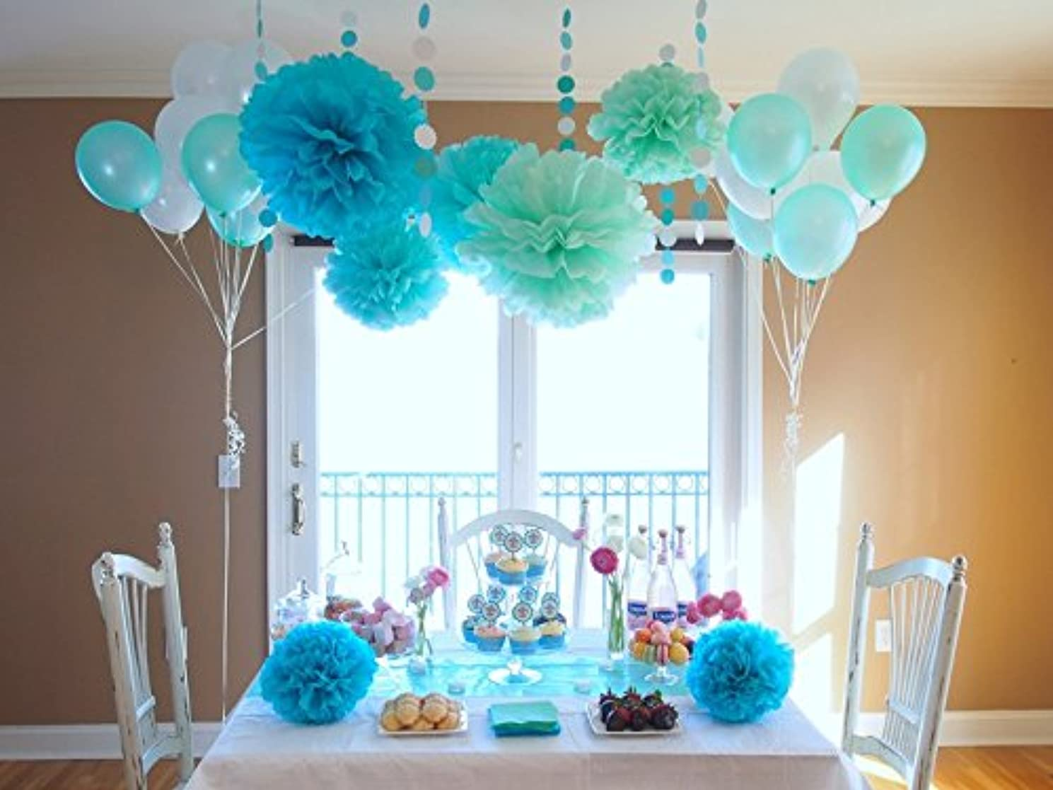 Sogorge Pack of 28 Pcs Mint Green Blue White Tissue Paper Pom Poms with White and Mint Balloon for Baby Shower Party Decorations