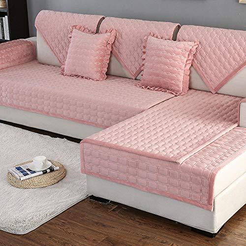 Ginsenget Funda sofá 1 2 3 Funda Cama de 4 plazas sillón,Protector de Tela sofá,Cojín de sofá Grueso de Invierno,Rosa,110X210cm
