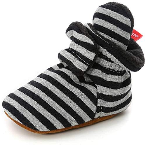 TMEOG Unisex-Baby Neugeborenes Fleece Booties Bio Baumwoll-Futter und rutschfeste Greifer Winterschuhe (0-6 Monate, B_Schwarz/Grau)