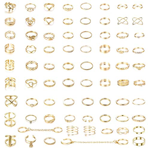 CASSIECA 76 STÜCKE Vintage Gold Knuckle Ringe für Frauen Mädchen Stapeln Finger Strass Finger Ring Set Boho Modeschmuck