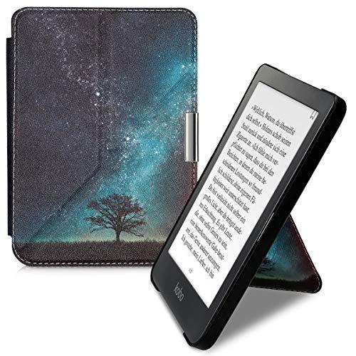 kwmobile Funda Compatible con Kobo Clara HD - Carcasa magnética de Origami para e-Book - árbol y Estrellas Azul/Gris/Negro