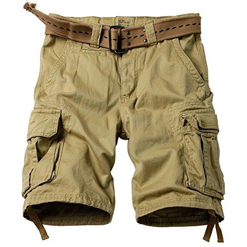 AKARMY Men's Multi Pocket Loose Fit Cotton Twill Cargo Shorts 8062# Khaki 38
