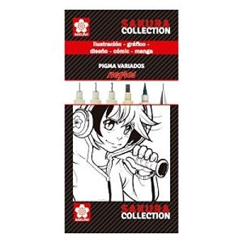 Sakura - Set Completo De Cinco Rotuladores Negros Pigma Diferentes Versiones Y Un Portaminas Sakura Multicolor