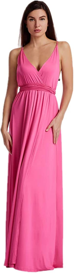 Women's Sexy Deep V-Neck Loose Dress Backless Adjustable Strap Split Maxi Dress Floor-Length Party Gown