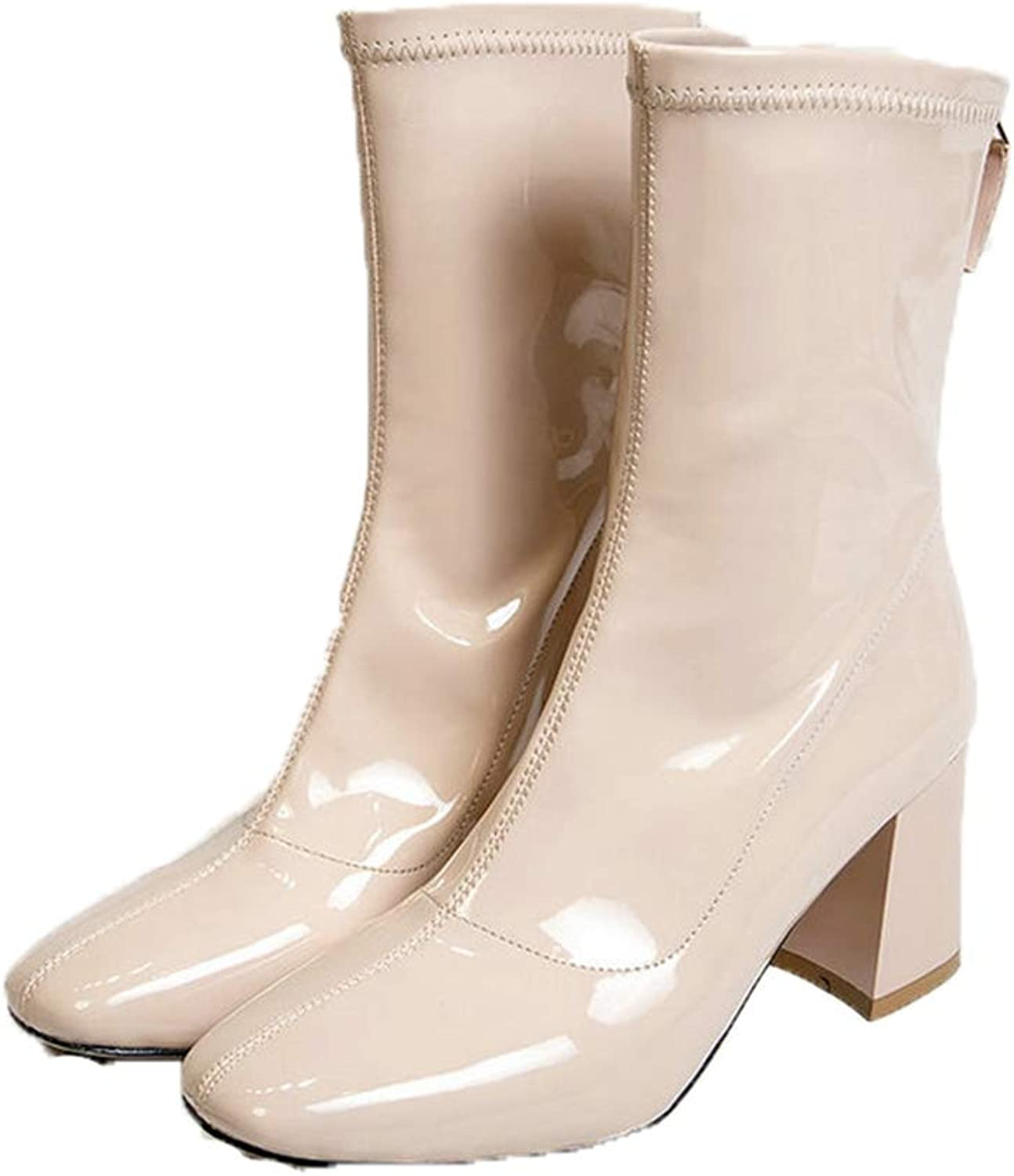 Jim Hugh Women Fashion Mid Calf Boots Rear Zipper Thick Square High Heel Spring Waterproof Fall Boots