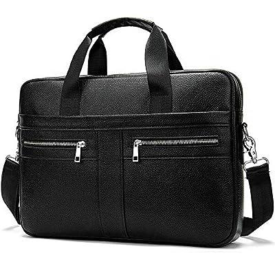 Genuine Leather Laptops Briefcase, Crossbody Satchel Handbag, Casual Shoulder Messenger Bag for Work Business Travel School (Black)