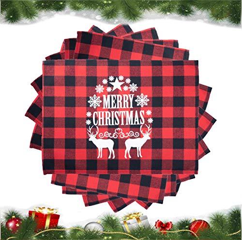 SANMADROLA Christmas Placemats 6Pcs Buffalo Plaid Placemats 13 x 18 Inch Buffalo Check Placemats for Holiday Christmas Table Decorations (Christmas01)