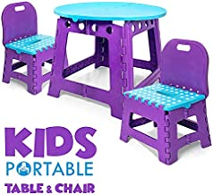 Vidasway Kids Table and Chair Set - 3 Pcs Folding. Use Indoors and Outdoors. Safe and Sturdy - Holds Up to 220 Pounds - Convenient Carrying Bag - Gender Neutral - Turquoise and Purple