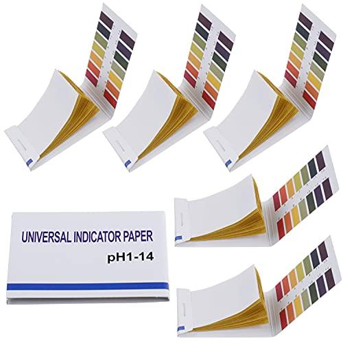 BOJACK Paquete de 5 80 tiras (400 tiras) Papel de prueba de pH 1-14 Papel de prueba extenso Papel de prueba de tornasol de prueba de pH para saliva prueba de suelo monitorización del pH de la dieta