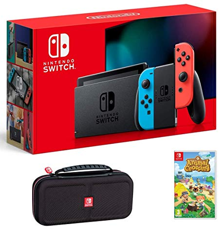 Nintendo Switch Bundle w/Game & Case: Nintendo Switch Consola de 32 GB con Neon Red y Blue Joy-Con, Animal Crossing New Horizons Game, Tigology Travel Case