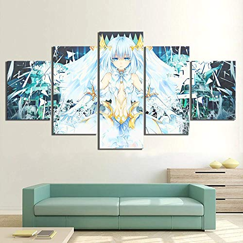 YOPLLL Cuadros De Lienzo Decoración para El Hogar 5 Piezas Paintings Wall Art Prints Modern Poster Modular Bed Background Origami Chica Anime(Sin Marco)