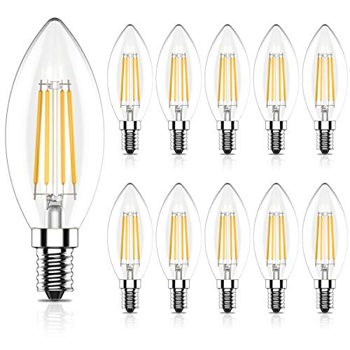E14 LED Nicht Dimmbar Lampe 4W, 400Lm, Warmweiß 2700K, Ersetzt 40W Glühlampe, CRI>80,C35 LED Kerzenlampen, E14 LED Leuchtmittel, E14 LED Kerzenbirnen, 10er Pack
