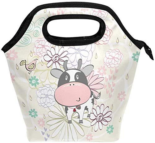 Bolsa de almuerzo con cremallera con aislamiento de vaca, bolsa de asas más fresca para adultos, adolescentes, niños, niñas, niños, hombres, mujeres, cajas de almuerzo de vaca con flores, loncheras,