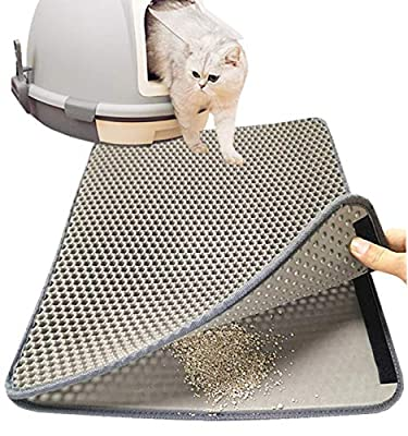 "Authda Cat Litter Mat with Cat Toy | Litter Trapping Mat Double Layer Waterproof | Cat Litter Tray Mat Honeycomb | Cat Litter Box Mat Scatter Control Washable (M - 60x40cm | 24""x 16"", Grey)"