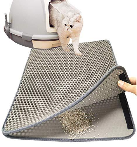 Authda Tappetino igienico per Gatti Antibatterico, Eva Doppio Strato Favo Tappetino Lettiera Gatto,Facile da Pulire Tappeto per Lettiera Gatto Toilette per Gatti (M - 60x40cm, Grigio)