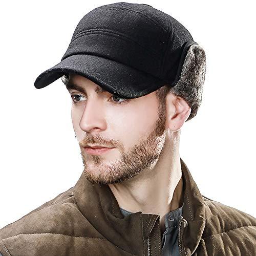 Fancet Gorra de béisbol de lana gruesa para hombre con orejeras de piel sintética con orejeras de piel sintética, calentador de trampa, sombrero de caza, unisex, 57-62 cm