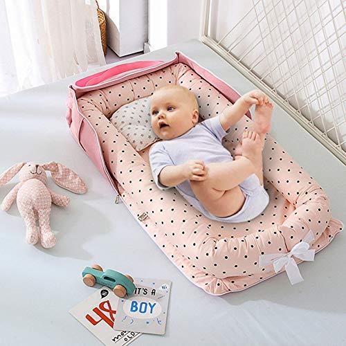 Cama de bebé portátil plegable, parachoques de cuna de bebé, cama de nido de bebé portátil, cama de viaje multifuncional con colchón de parachoques para cuna de bebé